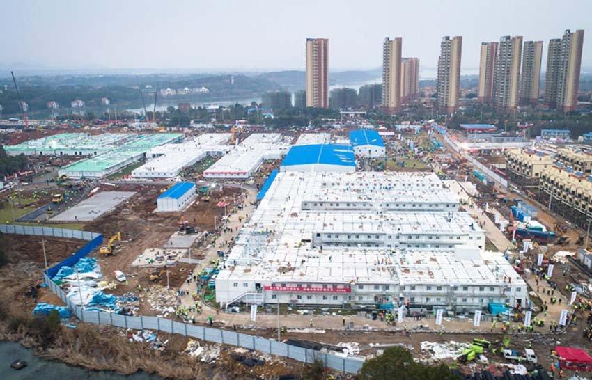 Строительство больниц в Ухань в Китае, коронавирус