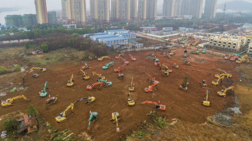 Строительство больниц в Ухане, Китай, коронавирус