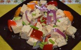 Рецепт жареного тофу с овощами